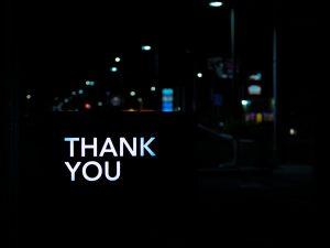 thank you image against black background