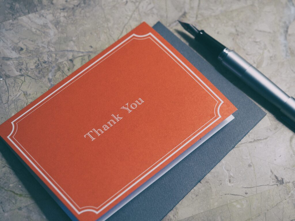 thank you card in red